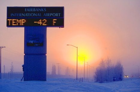 Thermometer reads 42 below in Fairbanks